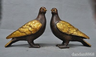 "8"" lucky china chinese fengshui bronze gilt animal bird birds pigeon statue pair"