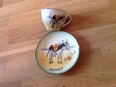 Extremley Rare Burleigh Ware B&L Ltd Cup & Saucer Neddy the Seaside Donkey 1930s