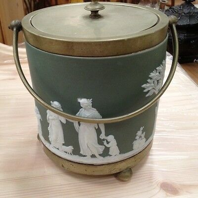 Antique Jasperware Wedgwood Style Biscuit Barrel Silverplated Mounts Green