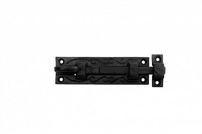 Black Wrought Iron Cabinet or Door Fancy Slide Bolt 4 3/4 | Renovators Supply