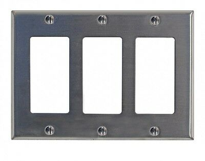 Switchplate Brushed Stainless Steel Triple GFI | Renovators Supply