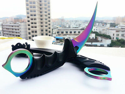 Karambit CSGO Colorized Fixed Blade Knife Hunting Camping Survival Saber Gift