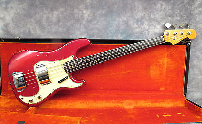1964 Fender Precision Bass  - Candy Red - Ohsc - Andy Baxter Bass