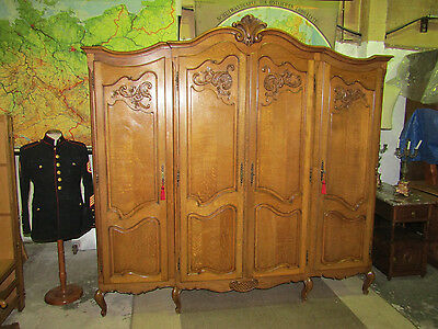 4 door beautifuly carved French oak double wardrobe,armoire,Louis XV,flat pack