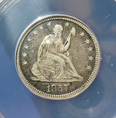 ANACS VF-35 DETAILS 1857 25C Liberty Seated Quarter