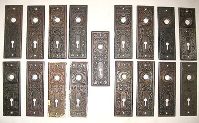 17 Antique Victorian Eastlake Steel Stamped Door Knob Backplates