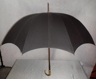 *vintage Umbrella W/ Carved Horn Crook Handle & Detailed Gold Plate Collar *