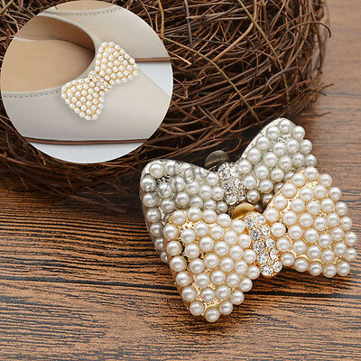 1 Pc Pearl Silver Gold High-heel Decor Wedding Removeable Buckle Bow Shoe Clip