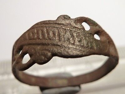4986 Old bronze military ring 150 years old with a sign - 20mm.