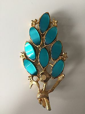 Vintage Stone Pin Brooch Blue Green Gold Metal Leaf Branch Anthropologie Style