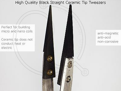 Vape Ceramic Tip Tweezer for Making Micro Nano Coil Black Pointed Heat Resistant