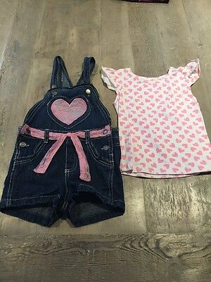 Girls Size 4 Short Dungarees With Tshirt