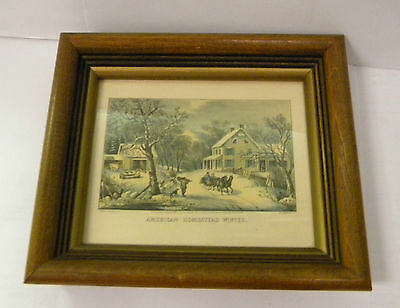 Currier & Ives American Homestead Winter Antique Collectible Picture Decorative