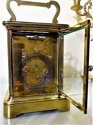 Antique Large French Brass Carriage / Mantel Clock.