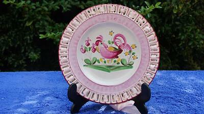 Vintage French Quimper Type Ribbon Plate Cockerel.