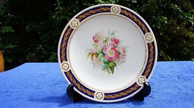 Good Quality Antique Hand Painted Porcelain Plate, Roses & Gilded.  Copeland?