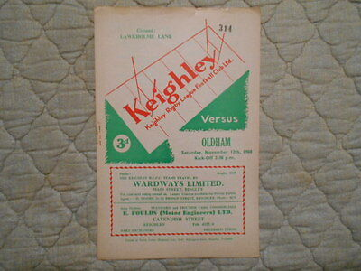 Keighley V Oldham Rugby League Match Programme Signed By G. Risman 1960