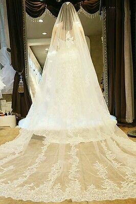 Stunning Applique Sequins White Ivory Wedding Veil 1Tier Cathedral Bridal Veils