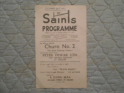 St Helens V Wigan Rugby League Match Programme 1960