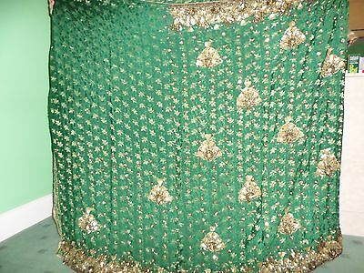 Ladies indian bottle green saree with gold embroidery great condition