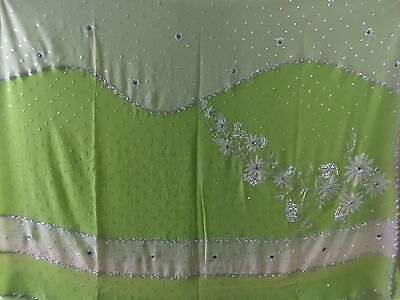 Ladies indian saree lime green and cream great condition
