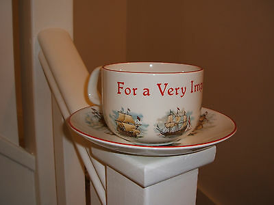 Poole Pottery VIP large teacup and saucer