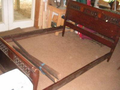 1930's SOLID Mahogany Full-Size Bed # 2702 Headboard, Footboard, Frame, Supports