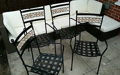 4x mosaic garden chair metal steel patio outdoor conservatory RRP 80.00 each