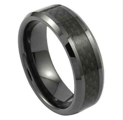 Mens Tungsten Carbide Ring Black Carbon Fiber & Black Band Wedding Engagement