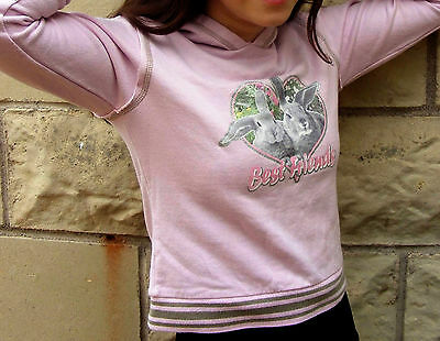 Evie Girls Pink Hoodie With Bunnies And Best Friends 12/13 Yrs Vgc