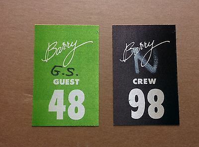 Barry Manilow Crew and Guest passes 80's  Mint !!! Lot of 2