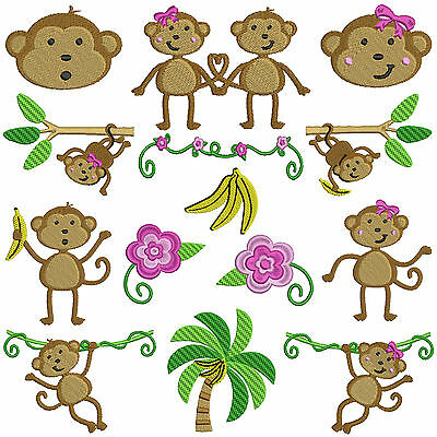 MONKEY SEE * Machine Embroidery Patterns * 14 designs