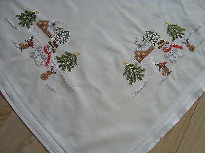 Vintage German Christmas Embroidered Tablecloth w/ Cute Snowman & Xmas Tree