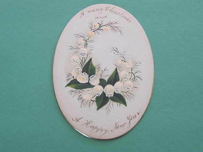 1890 Victorian Christmas Greeting Card Oval Shape Gold bevelled edge