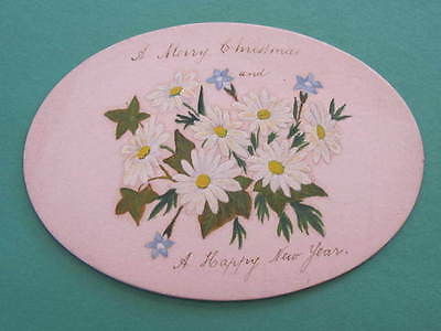 1890 Victorian Christmas Greeting Card Oval Shape Gold edge around thick card