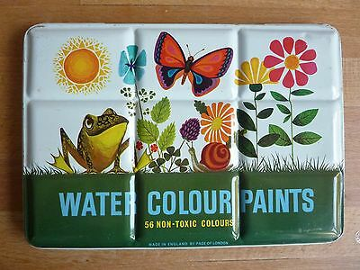 Vintage WATER COLOUR PAINTS PAINTBOX by Page London – made in England
