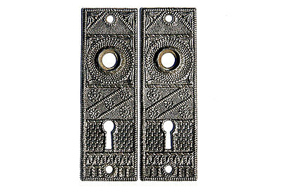 Matching Set of Victorian Antique Door Back Plates Marked 1860 (DP#1860)