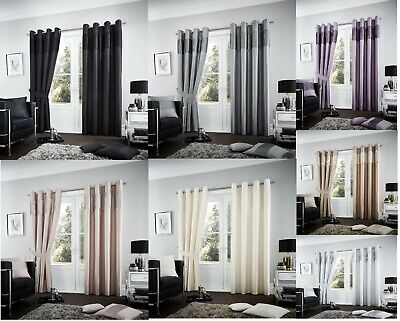 Luxury Thermal Black out Curtains Ring Top Eyelet Pair of Curtains Fully Lined
