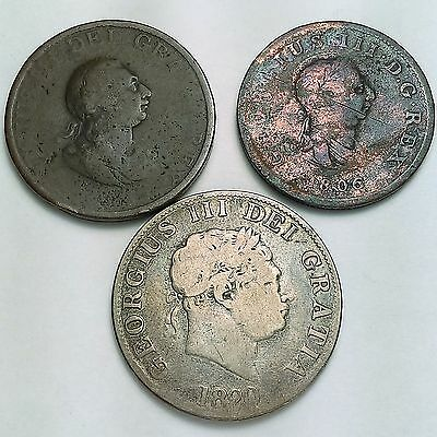 Lot Of 3 – Great Britain Coins Includes Sterling Silver Half Crown 1799-1820