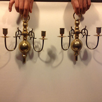 Pair Vtg Brass Wall Sconce Candle Holders Federal Decor • CAD $63.50