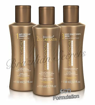 CADIVEU BRASIL CACAU BRAZILIAN ECO KERATIN BLOW DRY HAIR STRAIGHTENING 110ml KIT
