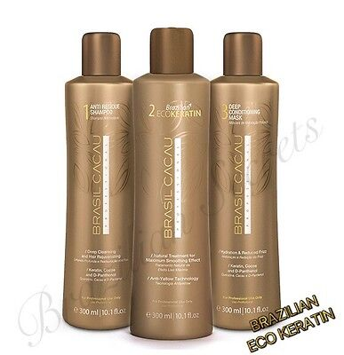 CADIVEU BRASIL CACAU BRAZILIAN ECO KERATIN BLOW DRY HAIR STRAIGHTENING 300ml KIT