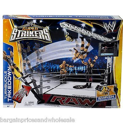 WWE Super Strikers Turnbuckle Takedown Ring Action Figure Play Set New Wrestling
