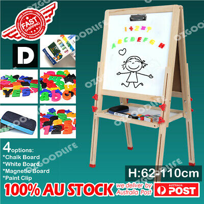 Adjustable height wooden easel 4in1 Chalk/White/Black Board,Paint Clip D