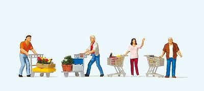 Preiser  -  Shoppers with Trolleys  - HO Model Trains - Layout ready