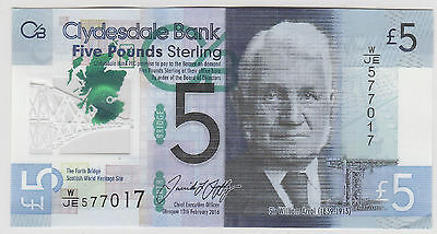 2016 £5 Five  Pounds  Clydesdale Bank Glasgow Circulated 017
