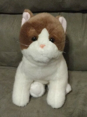 Brown And White Cat Stuffed Animal Puppet That Meows By Applause