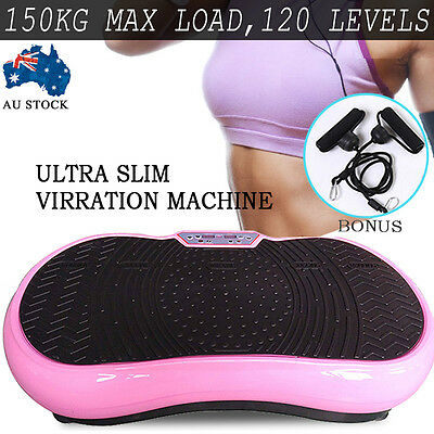 Pink Ultra Slim Vibration Machine Plate Platform Exercise Fitness Massage