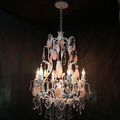 LG Vintage Italian Tole/Crystal Chandelier w Pink Rock Crystal Prisms-7 Lights