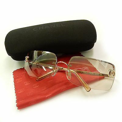 CHANEL Gold Plated CC Logos Rhinestone Vintage Sunglasses #544a Rise-on